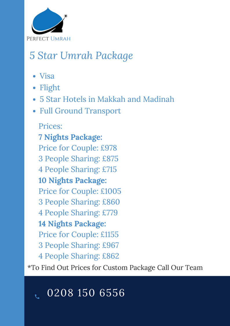 5 Star Umrah Package October 2018